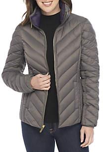 Short Packable Down Coat With Hidden Hood