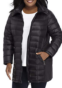 Plus Size Long Down Coat With Knit Inserts