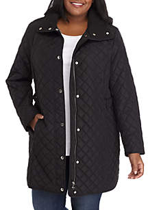 Plus Size Button Front Quilted Jacket With Hood