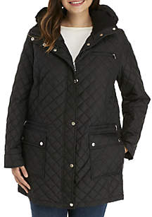 Plus Size Quilted Anorak with Hood