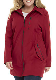 Plus Size Soft Shell Hooded Coat