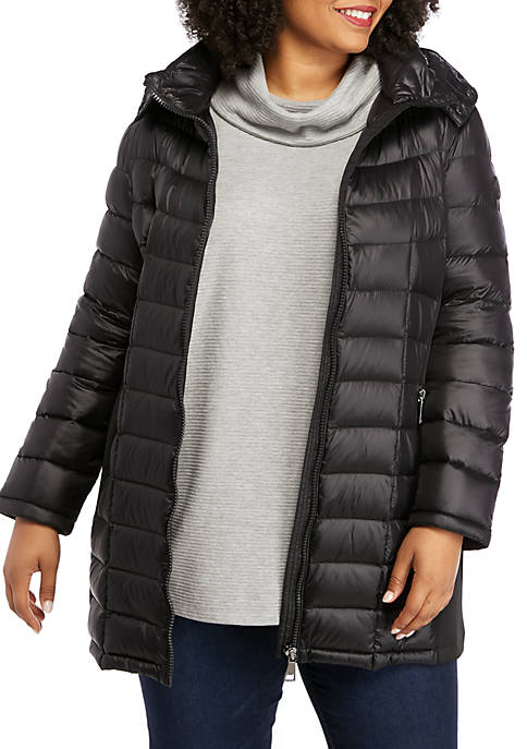 Long Puffer Coat with Knit Sides
