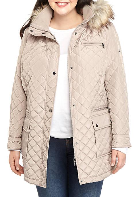 Calvin Klein Plus Size Faux Fur Trimmed Hood