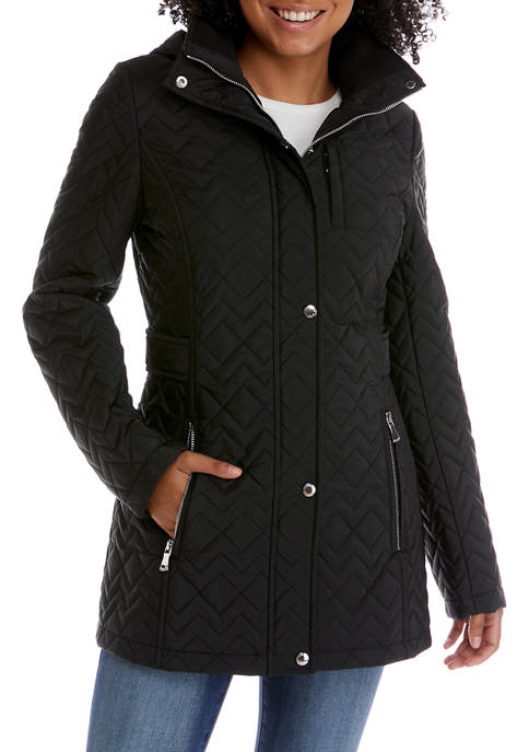 Calvin Klein Womens Hooded Tab Waist Quilted Jacket