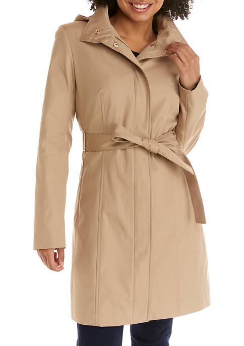 Calvin Klein Womens Tie Waist Hooded Raincoat