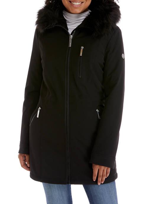 Calvin Klein Womens Zip Front Fur Hood Soft