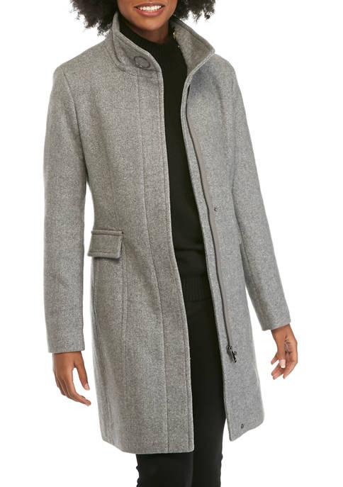 Zip Front Wool Coat