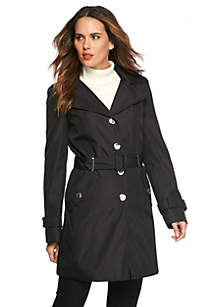 Button Front Trench Coat with Detachable Hood