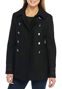 Double Breasted Trim Military Peacoat