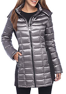 Mid Length Side Knit Packable Jacket