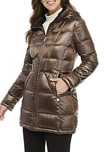 Mid Length Velvet Trim Packable Down Coat