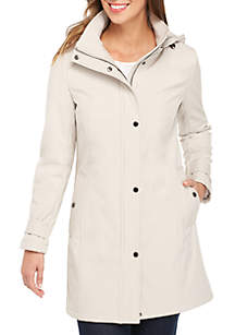 Hooded Soft Shell Button Front Coat
