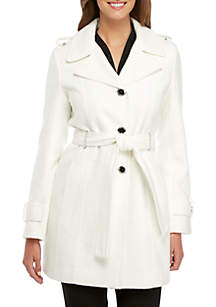 Faux Wool Trench Coat