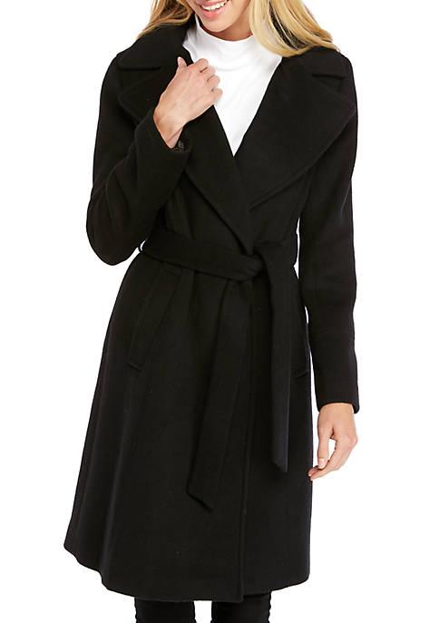 Calvin Klein Shawl Collar Wrap Coat