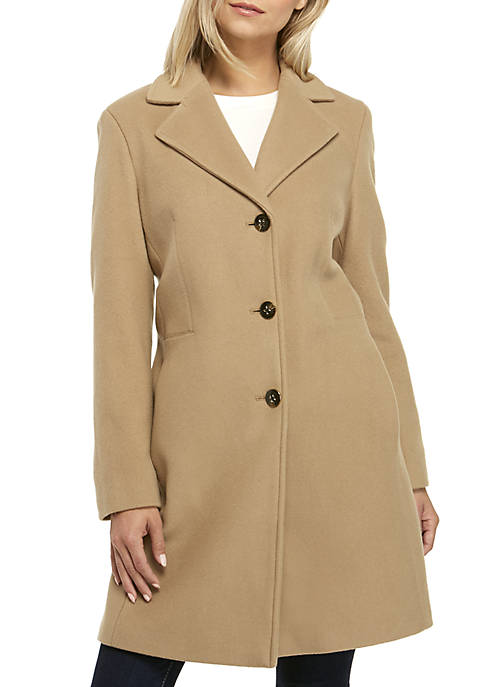 Single Breasted Notch Collar Wool Coat