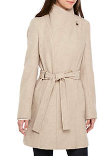 Convertible Collar Belted Wool Coat