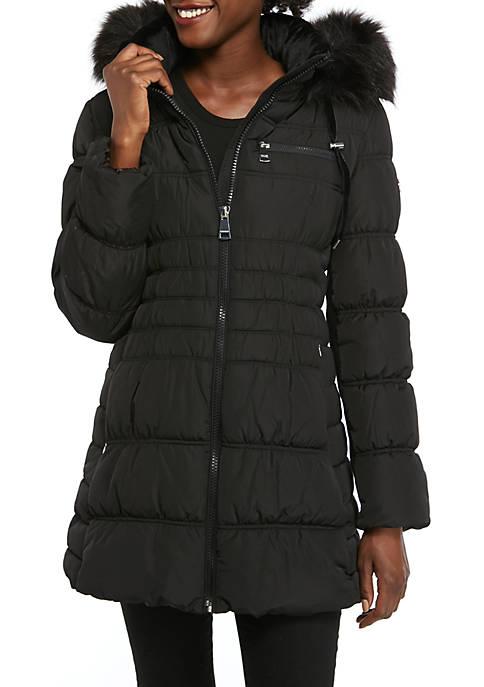 Calvin Klein Womens Fur Hood Quilted Long Coat