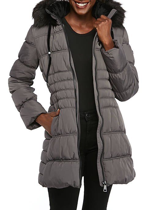 Womens Fur Hood Quilted Long Coat