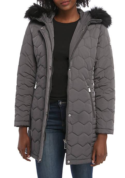 Calvin Klein Fur Hood Long Quilted Jacket