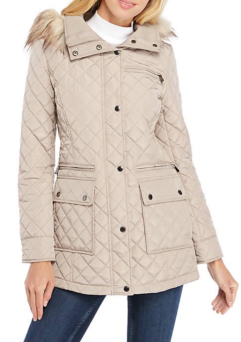 Calvin Klein Fur Hood Square Pocket Quilted Jacket