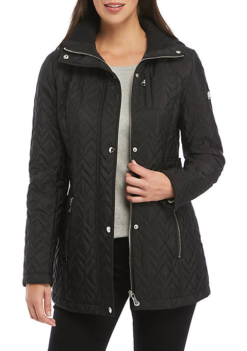 Calvin Klein Hooded Tab Waist Quilted Jacket