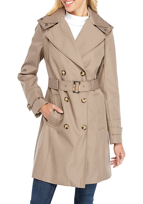 Calvin Klein Double Breasted Long Tie Waist Trench