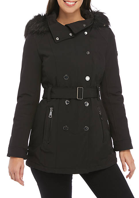 Double Breasted Fur Hood Soft Shell Jacket