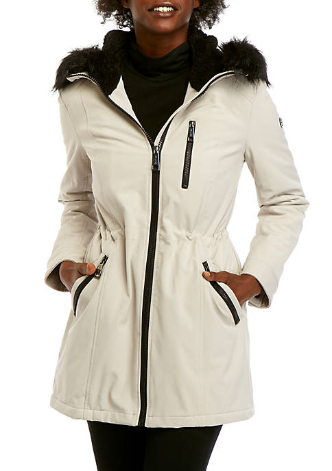 Zp Front Faux Fur Hood Soft Shell Jacket