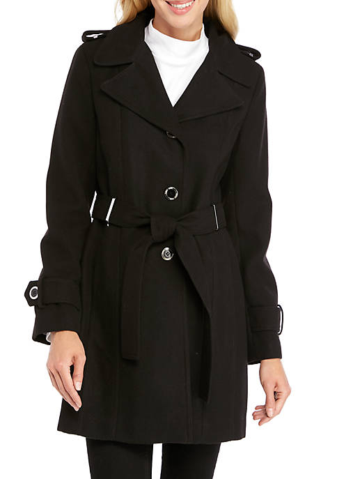 Calvin Klein Single Breasted Tie Front Wool Coat