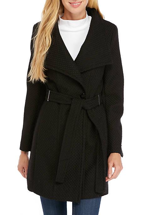 Asymmetric Tie Front Wool Coat