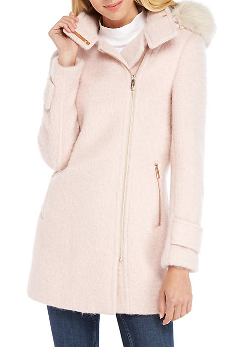 Calvin Klein Asymmetrical Zip Front Wool Coat with