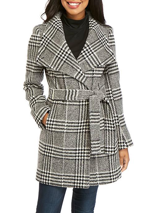 Brushed Plaid Wool Coat