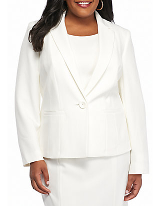Plus Size Single Button Jacket