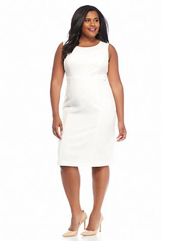 Kasper Plus Size Solid Sheath Dress Belk