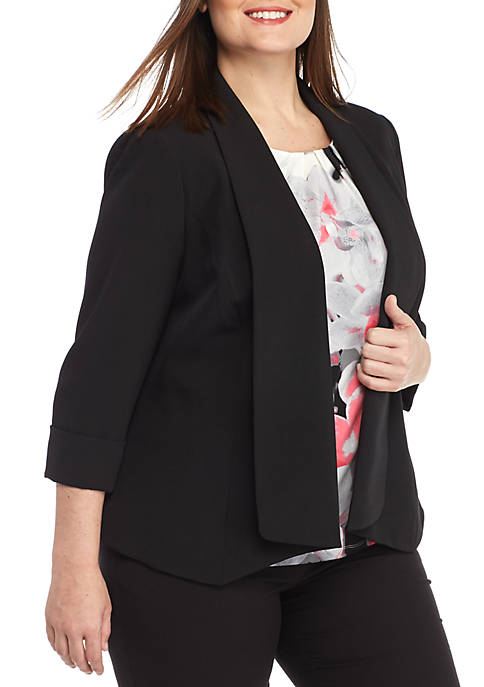 Kasper Plus Size Shawl Collar Flyaway Jacket