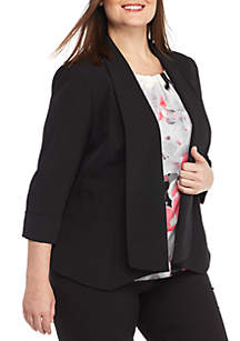Plus Size Shawl Collar Flyaway Jacket