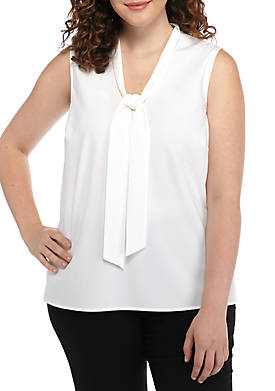 Plus Size Tie Neck Blouse