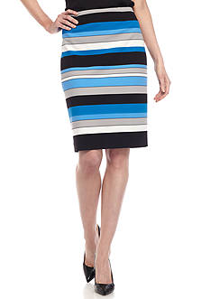 Kasper Stripe Straight Skirt