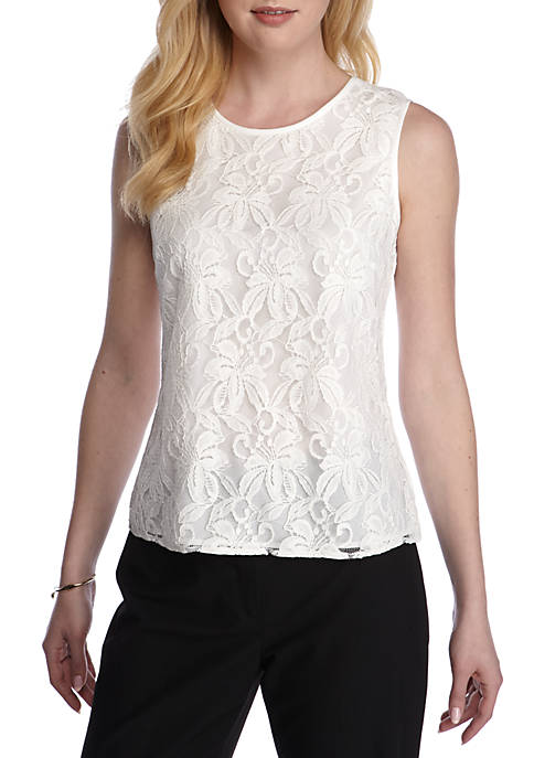 Kasper Lace Sleeveless Top
