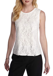 Petite Lace Sleeveless Top