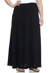Plus Size Knit Maxi Skirt