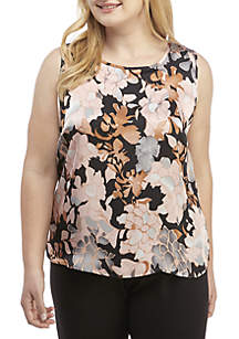 Plus Size Sleeveless Floral Print Top