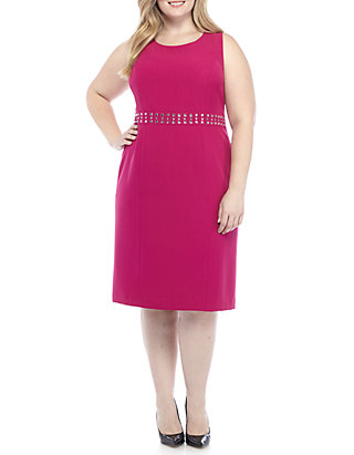 Plus Size Dress with Beaded Waist Detailing