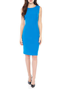 Solid Round Neck Stretch Crepe Dress