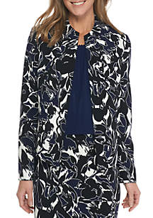 Abstract Camo Print Scuba Crepe Jacket