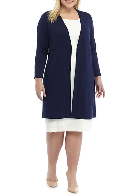 Kasper RIbbed Knit Long Duster