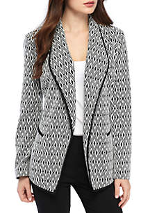 Flyaway Jagged Textured Jacquard Jacket