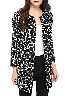 Abstract Grid Printed Topper Jacket