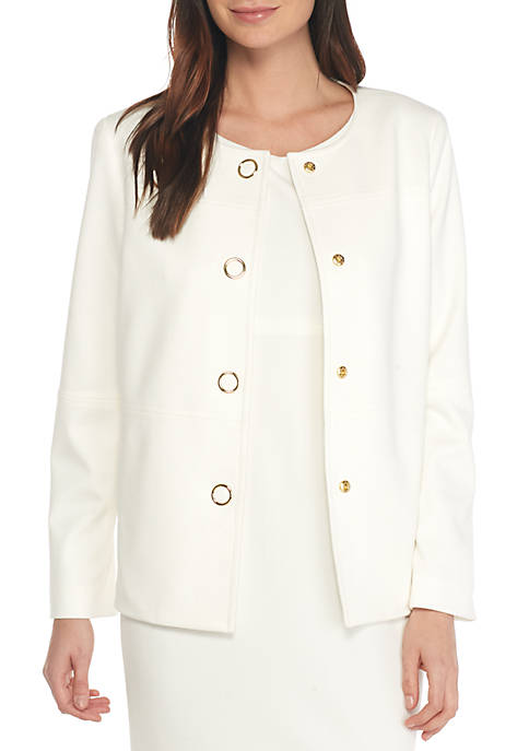 Kasper 4-Button Rounded Collar Jacket