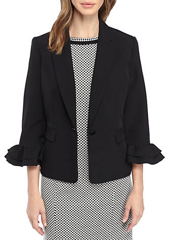 433a04150f929 Kasper Stretch Crepe One Button Jacket With Ruffle Sleeves